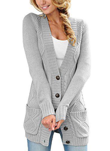 SIDEFEEL Women Open Front Pocket Cardigan Sweater Button Down Knit Sweater