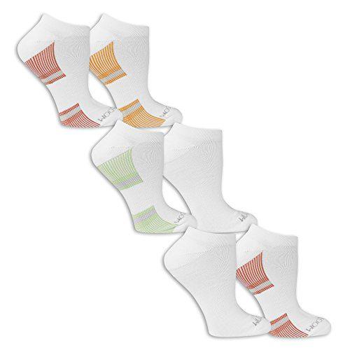Fruit of the Loom Women's 6 Pack No Show Socks, White/Grey