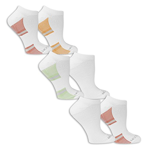 Fruit of the Loom Women's 6 Pack No Show Socks, White/Grey