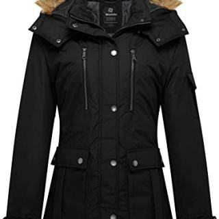 Wantdo Women's Thickened Parka Coat with Removable Fur Hood US Large Black