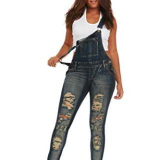 Cover Girl Women's Plus Size Denim Overalls Bib Strap Button Skinny Fit