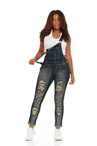 Cover Girl Women's Plus Size Denim Overalls Bib Strap Button Skinny Fit