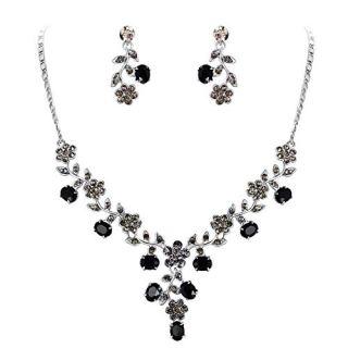 EVER FAITH Flower Leaf Necklace Earrings Set Austrian Crystal Silver