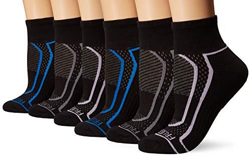 Fruit of the Loom Women's 6-Pair Ankle Socks, black/blue, black/grey