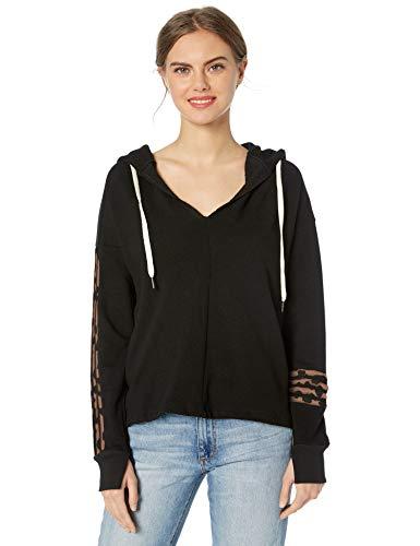 n:PHILANTHROPY Women's Casual Sweatshirt, Black Leopard Winslow