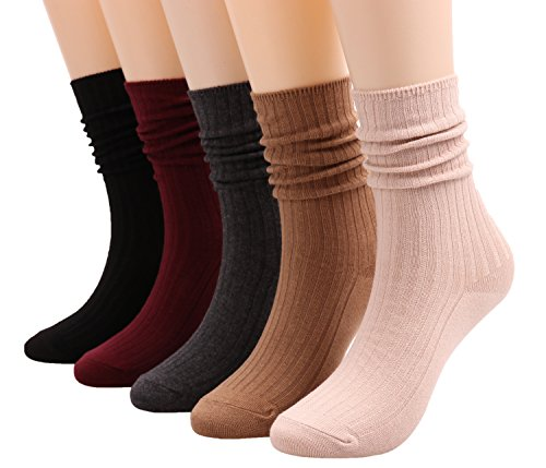 Galsang 5 Pairs Womens Lightweight Cotton Casual Crew Knit Socks Solid Color
