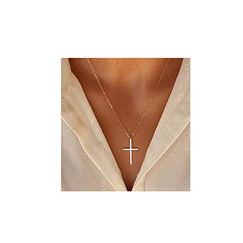 XOYOYZU Tiny Cross Pendant Necklace for Women Simple Cross Necklaces