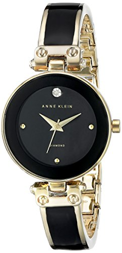 Anne Klein Women's Diamond-Accented Dial Black and Gold-Tone Bangle Watch