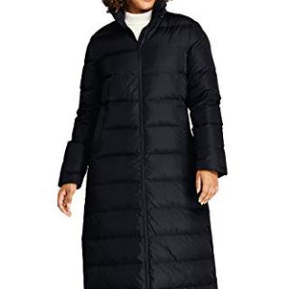 Lands' End Women's Plus Size Winter Long Down Coat with Faux Fur Hood