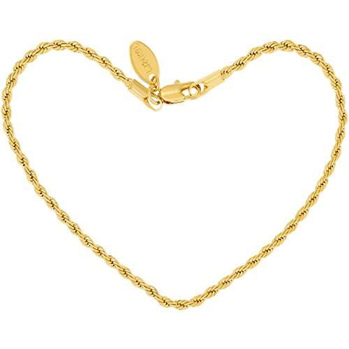 Lifetime Jewelry Anklets for Women Men and Teen Girls - 24K Gold Plated