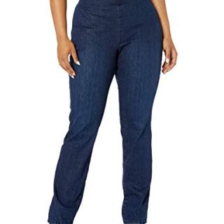 NYDJ Women's Plus Size Pull ON Marilyn Straight Leg Jeans, Clean Denslowe