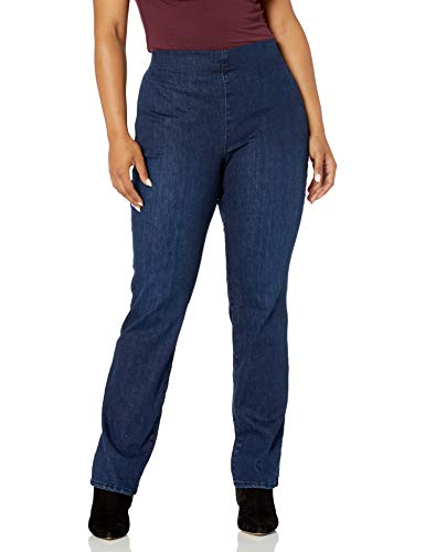 NYDJ Women's Plus Size Pull ON Marilyn Straight Leg Jeans, Clean Denslowe