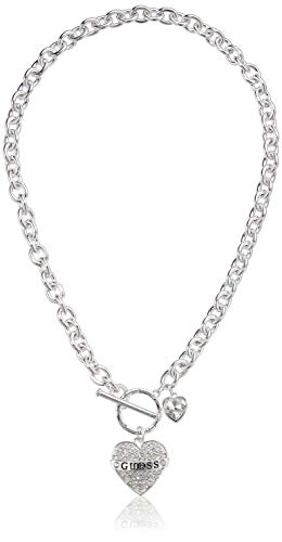 GUESS Women's Toggle Logo Charm Necklace, Silver, One Size