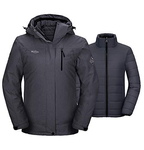 Wantdo Women's 3-in-1 Waterproof Ski Jacket Warm Hooded Winter Coat