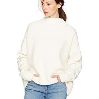 Cable Stitch Women's Funnel Neck Cozy Sweater Medium Winter White