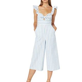 BCBGeneration Women's Striped Cropped Jumpsuit, Sky Blue