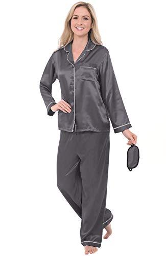 Alexander Del Rossa Women's Button Down Satin Pajama Set with Sleep Mask