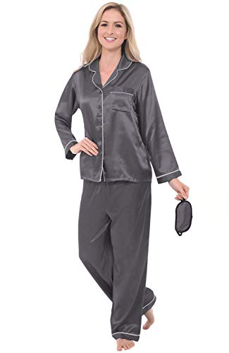 Alexander Del Rossa Women's Button Down Satin Pajama Set with Sleep Mask