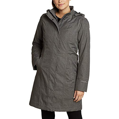 Eddie Bauer Women's Girl On The Go Insulated Trench Coat, Dk Charcoal HTR Regula
