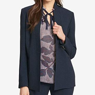 Tommy Hilfiger Womens Pinstripe Business Blazer Navy