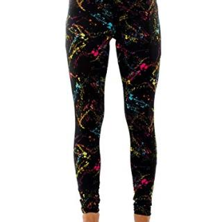 Splatter Neon Leggings - Neon Retro Rainbow Tights for Women