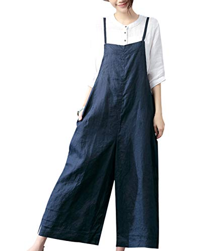 YESNO Women Casual Loose Boyfriend Cropped Bib Pants Summer Wide Leg