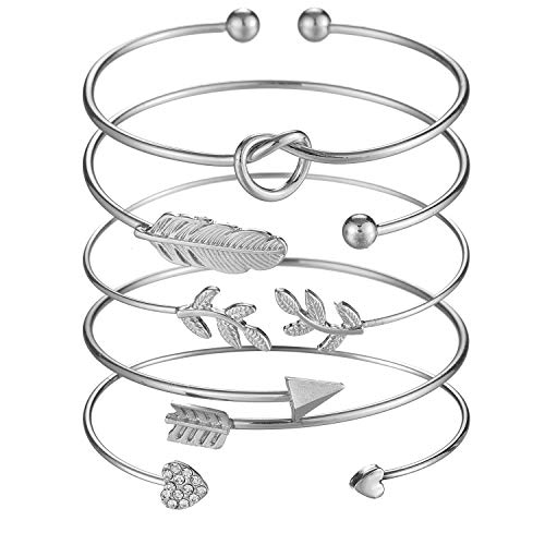 Softones 5pcs Bangle Silver Bracelets for Women Girls Heart|Olive Leaf|Arrow