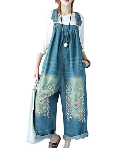 YESNO P91 Women Strap Rompers Jumpsuits Denim Casual Bib Pants Embroidery