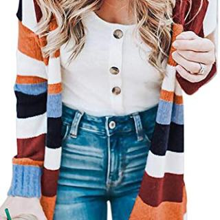ECOWISH Womens Floral Striped Draped Kimono Cardigan Long Sleeve Open Front