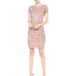 Adrianna Papell Women's Short Sleeve Sequin Cocktail Dress with Scooped Back