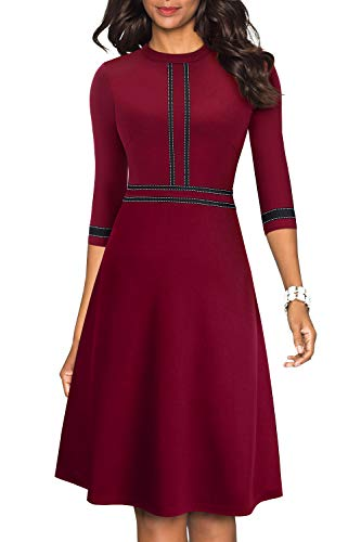 HOMEYEE Women's Chic Crew Neck 3/4 Sleeve Party Homecoming Aline Dress
