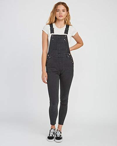 RVCA Women's Foss Skinny Denim Overall Black