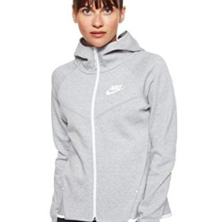 Nike Womens Tech Fleece Full Zip Hoodie Grey Heather/White