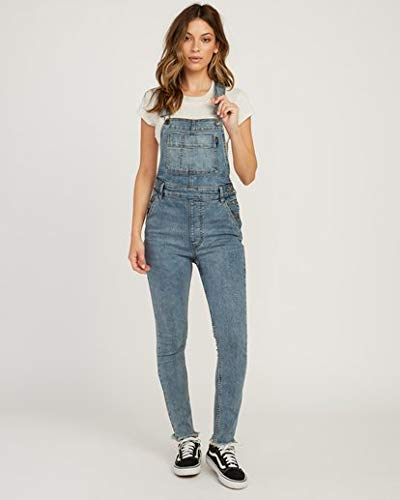 RVCA Women's Foss Skinny Denim Overall Blue