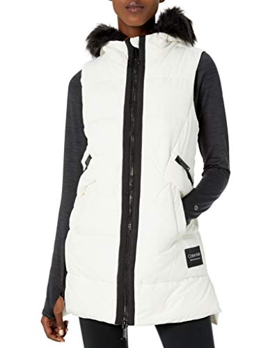 Calvin Klein Women's Quilt Walker Vest with Faux Fur Trim Hood