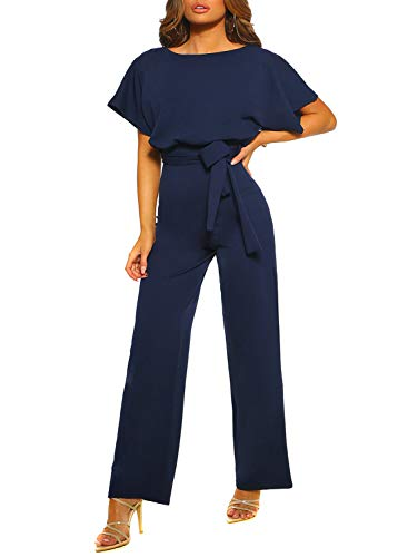 Happy Sailed Women Casual Loose Short Sleeve Belted Wide Leg Pant Romper