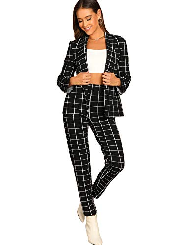 SheIn Women's Two Piece Plaid Open Front Long Sleeve Blazer and Elastic Waist