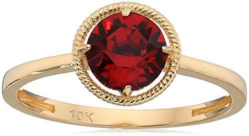 10k Gold Swarovski Crystal July Birthstone Ring