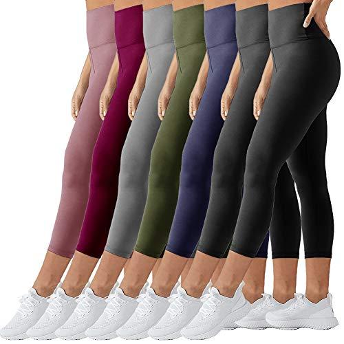 TNNZEET High Waisted Tummy Control Soft Plus Size & One Size Capri Leggings