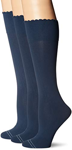 HUE Women's Graduated Compression Knee Hi Socks 3 Pair Pack