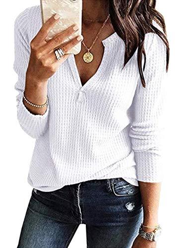 Famulily Womens Waffle Knit Tunic Blouse Casual Long Sleeve V Neck Tee Shirt
