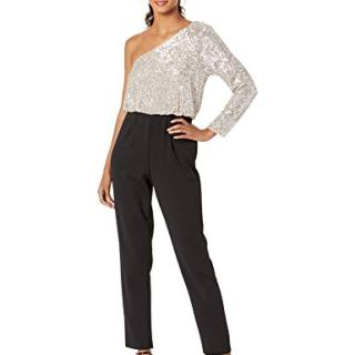 Adrianna Papell Women's Plus Size One Shoulder Sequin Jumpsuit, Silver/Black