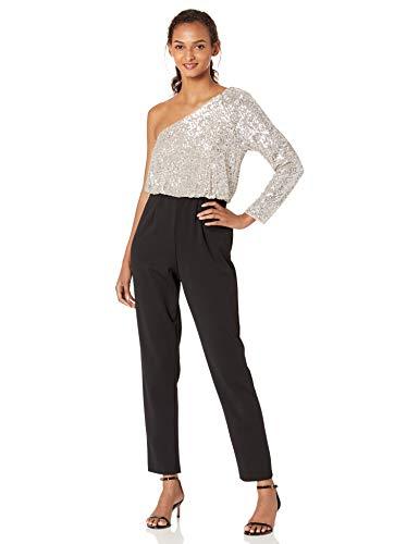 Adrianna Papell Women's Plus Size One Shoulder Sequin Jumpsuit, Silver/Black