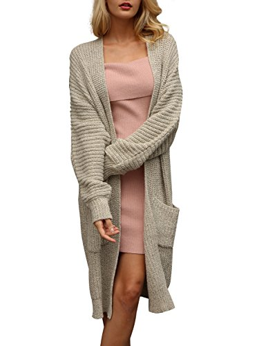 Simplee Women's Casual Open Front Long Sleeve Knit Cardigan Sweater Coat