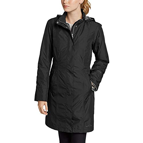 Eddie Bauer Women's Girl On The Go Insulated Trench Coat, Black Regular