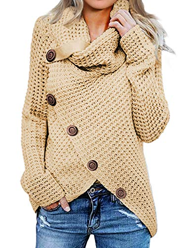 Asvivid Womens Cozy Turtleneck Cowl Neck Long Sleeve Sweater Winter
