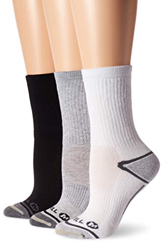 Merrell Women's 3 Pack Performance Hiker Socks , Grey Assorted (Crew)
