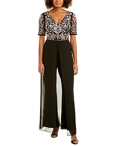 Adrianna Papell Women's Floral Embellished Jumpsuit with Sheer Skirt