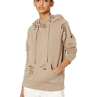 Alo Yoga Women's Ripped Hoodie, Gravel, XS