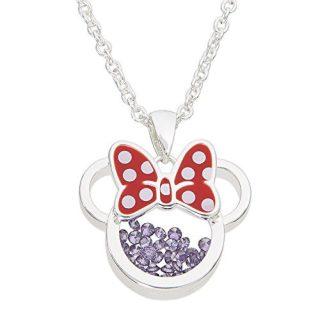 Disney Birthstone Women Jewelry Minnie Mouse Silver Plated February Amethyst